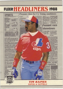 1988 Fleer Headliners Baseball Cards   006       Tim Raines